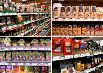 REWE Stolpowski Regal mit Bio, Fair Trade und veganen Produkten