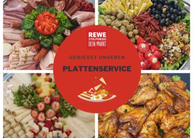 REWE Stolpwoski Platte mit kalten Vorspeisen, Wurst, Huehnchen und Obst